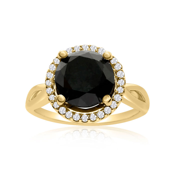 4 3/4 Carat Black & White Diamond Halo Ring in 14K Yellow Gold, G
