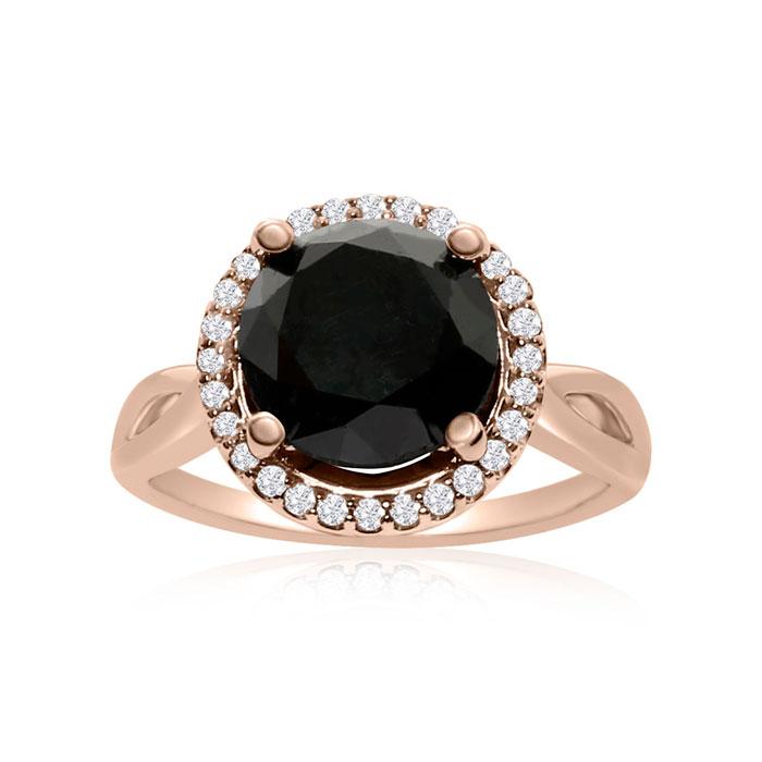 4 3/4 Carat Black & White Diamond Halo Ring in 14K Rose Gold, G/H