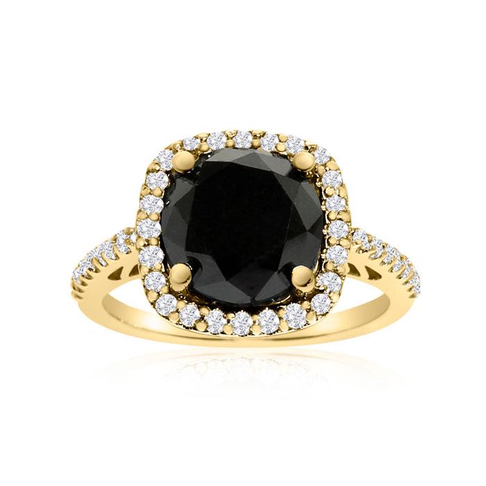 4 1/2 Carat Cushion Cut Black & White Diamond Halo Ring in 14K Ye