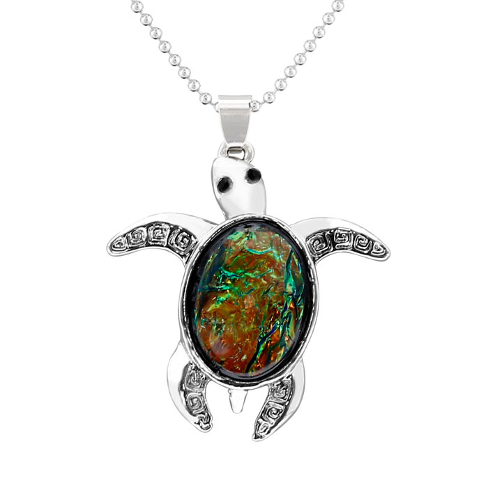 Platinum Overlay Black Opal Turtle Necklace, 18 Inches by SuperJe