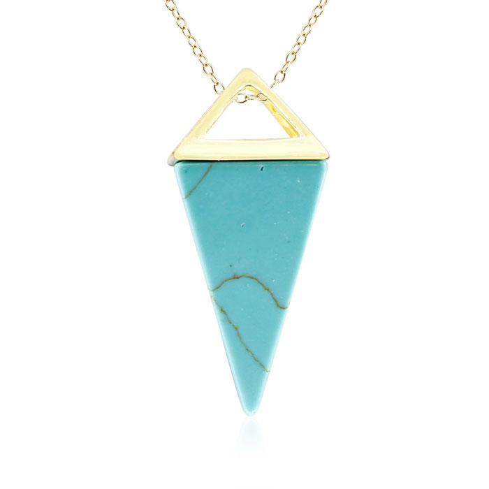 Yellow Gold Turquoise Geo Prism Necklace, 18 Inches in Sterling S