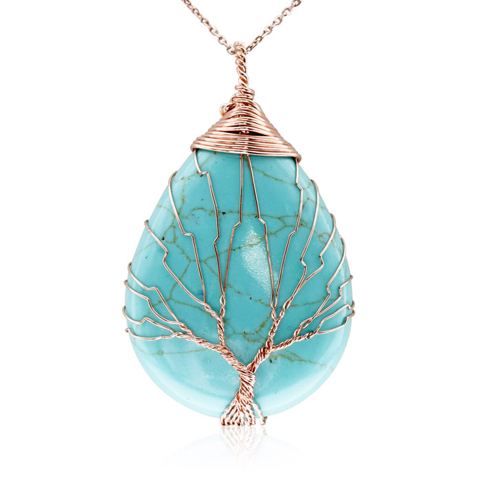 Rose Gold Tree of Life Wire Wrapped Turquoise Teardrop Necklace, 18 Inches in Sterling Silver by SuperJeweler
