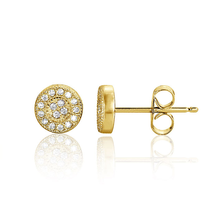 Image of Children's Yellow Gold Over Sterling Silver Round Stud Earrings