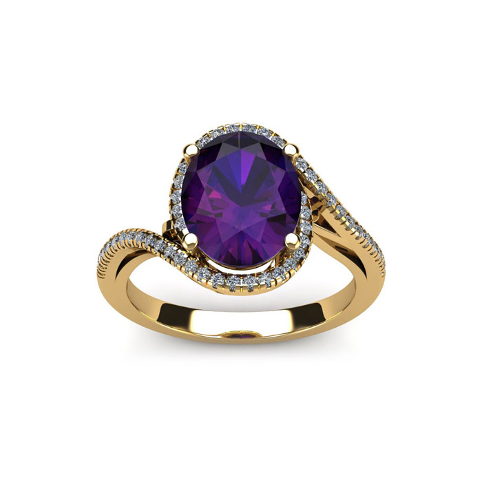 1 Carat Oval Shape Amethyst & Halo Diamond Ring in 14K Rose Gold