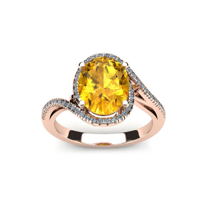 1 Carat Oval Shape Citrine & Halo Diamond Ring in 14K Rose Gold (