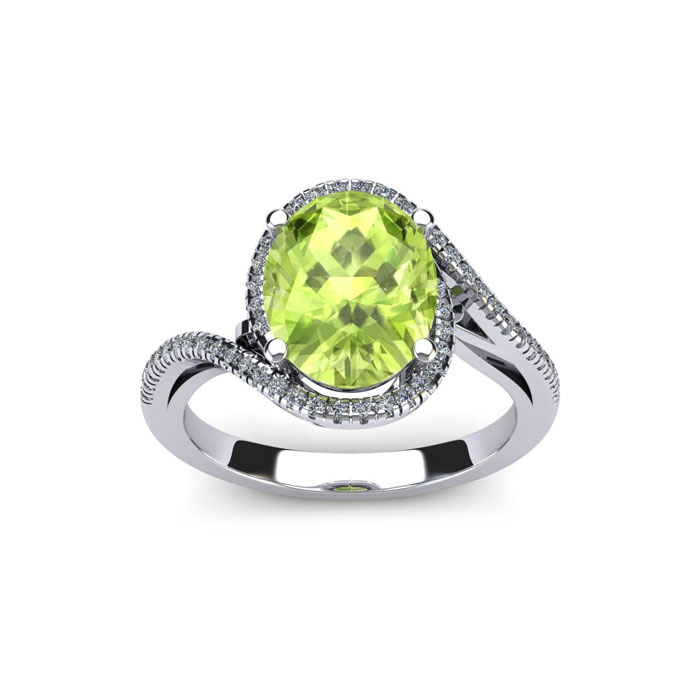 1 Carat Oval Shape Peridot & Halo Diamond Ring in 14K White Gold (4.3 g), H/I by SuperJeweler