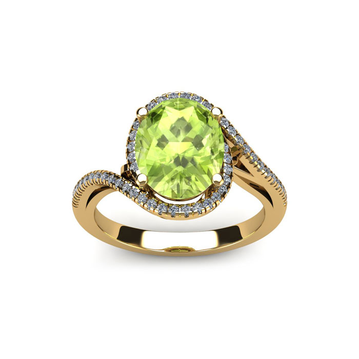 1 Carat Oval Shape Peridot & Halo Diamond Ring in 14K Yellow Gold