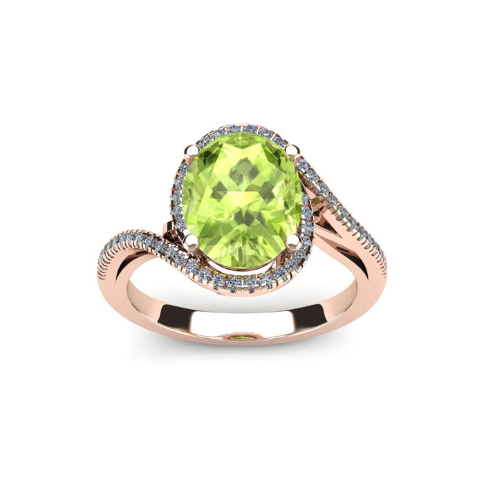 1 Carat Oval Shape Peridot & Halo Diamond Ring in 14K Rose Gold (4.3 g), H/I by SuperJeweler