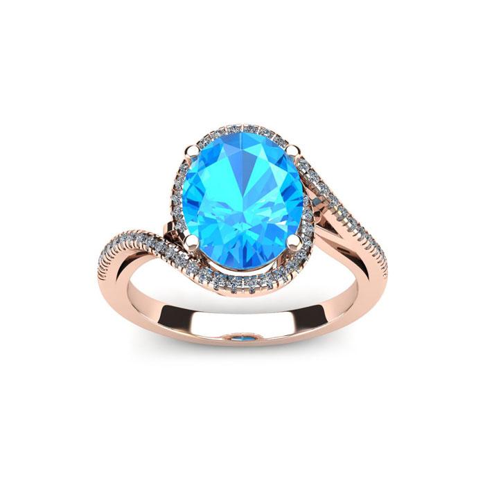 1.25 Carat Oval Shape Blue Topaz & Halo Diamond Ring in 14K Rose