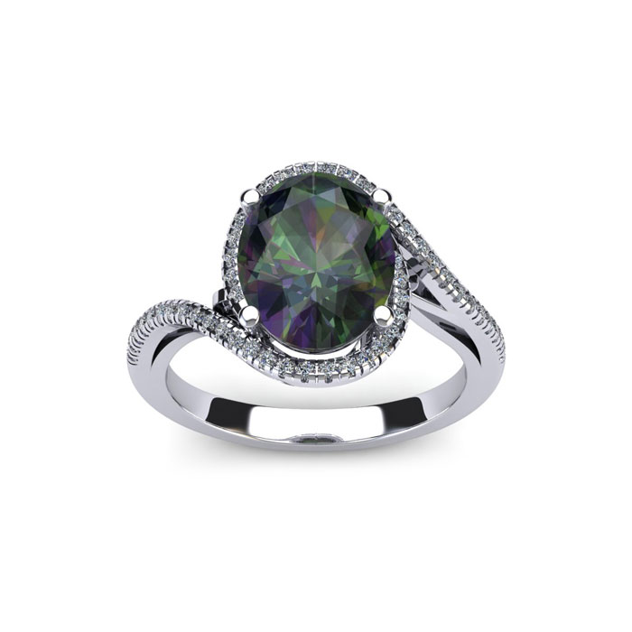 1 Carat Oval Shape Mystic Topaz & Halo Diamond Ring in 14K White