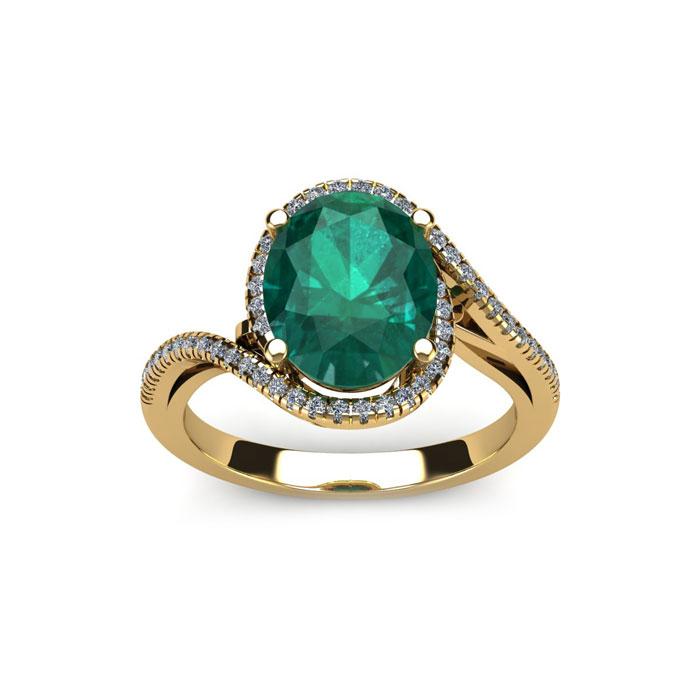 1 Carat Oval Shape Emerald Cut & Halo Diamond Ring in 14K Yellow