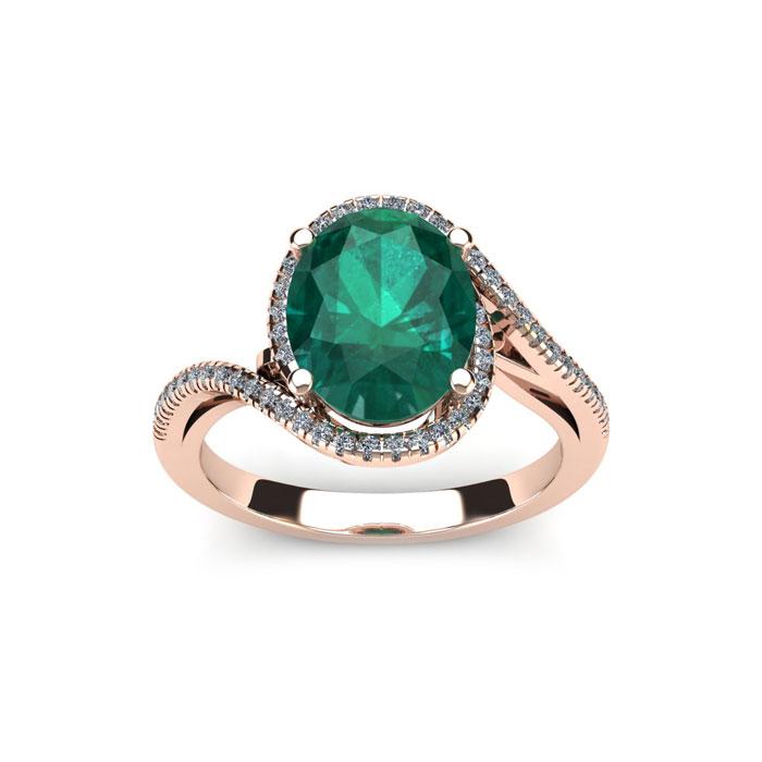 1 Carat Oval Shape Emerald Cut & Halo Diamond Ring in 14K Rose Gold (4.3 g), H/I by SuperJeweler