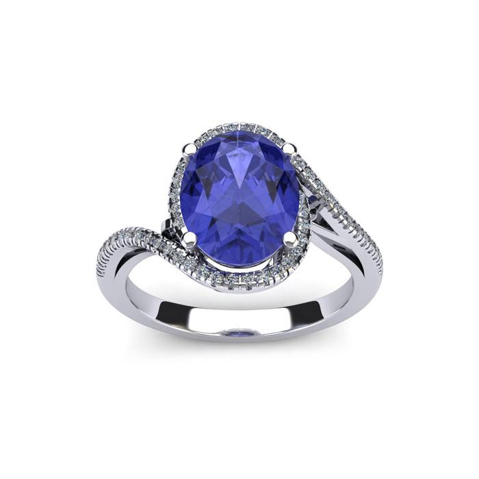 1.25 Carat Oval Shape Tanzanite & Halo Diamond Ring in 14K White
