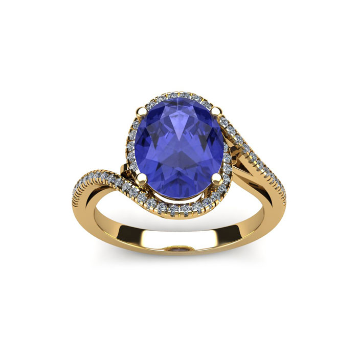 1.25 Carat Oval Shape Tanzanite & Halo Diamond Ring in 14K Yellow