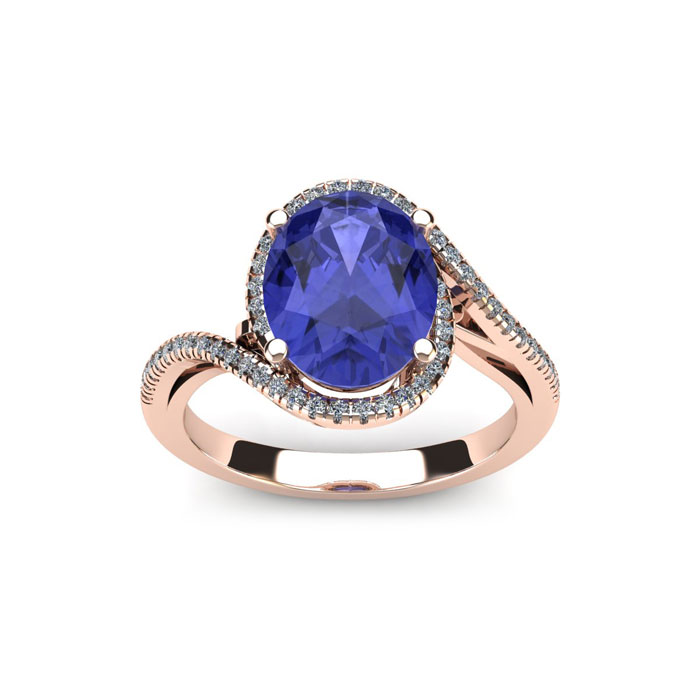 1.25 Carat Oval Shape Tanzanite & Halo Diamond Ring in 14K Rose G