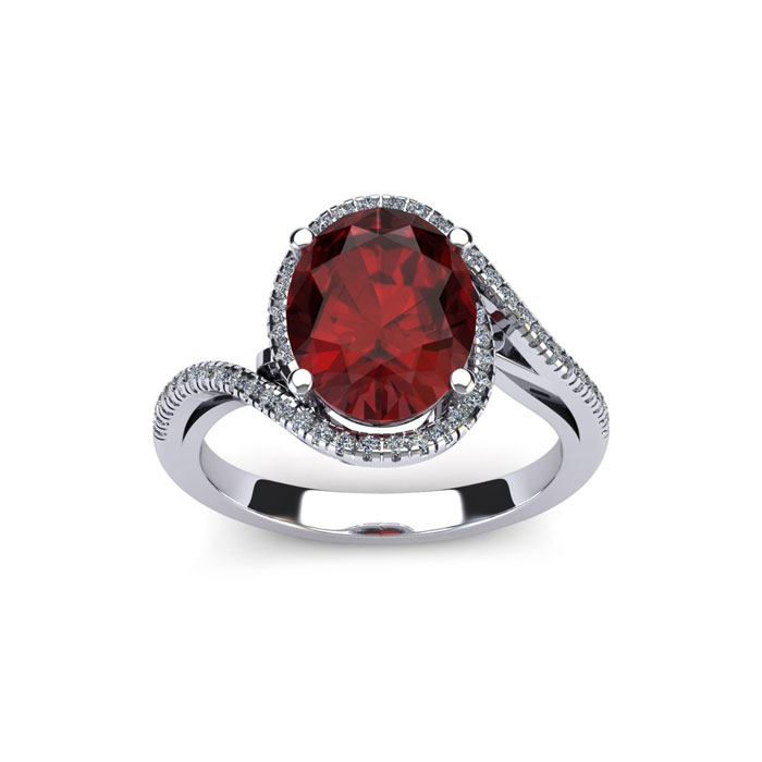 1 1/4 Carat Oval Shape Garnet and Halo Diamond Ring In 14 Karat White Gold