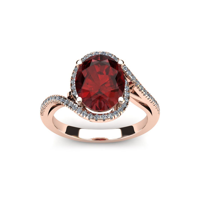 1.25 Carat Oval Shape Garnet & Halo Diamond Ring in 14K Rose Gold (4.3 g), H/I by SuperJeweler