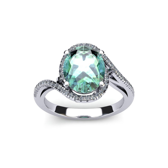 1 Carat Oval Shape Green Amethyst & Halo Diamond Ring in 14K Whit