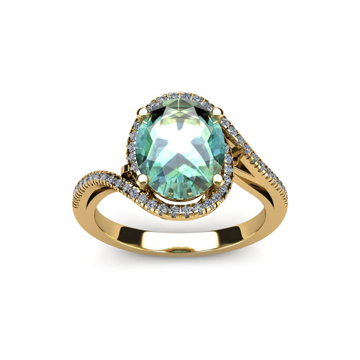 1 Carat Oval Shape Green Amethyst & Halo Diamond Ring in 14K Yell