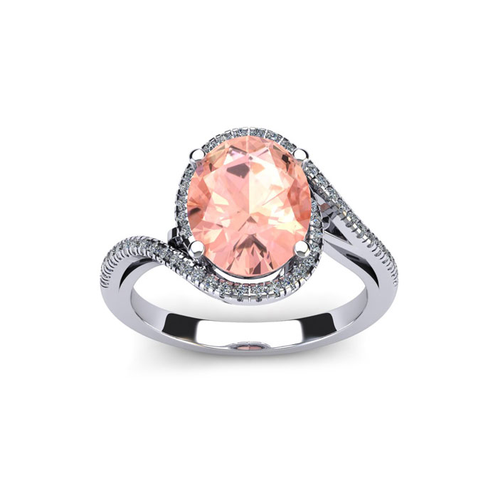 1 Carat Oval Shape Morganite and Halo Diamond Ring In 14 Karat White Gold