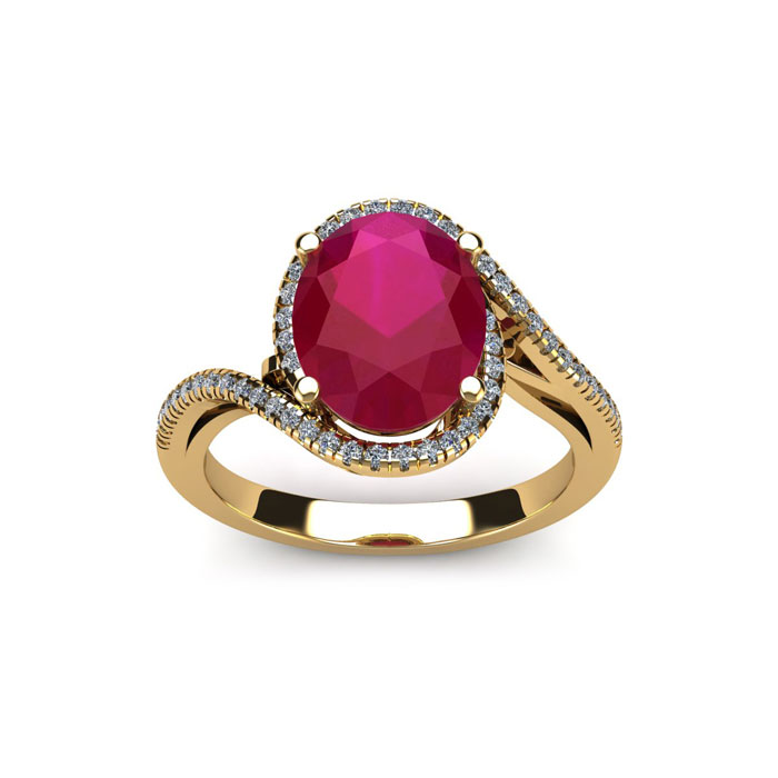 1.25 Carat Oval Shape Ruby & Halo Diamond Ring in 14K Yellow Gold (4.3 g), H/I by SuperJeweler
