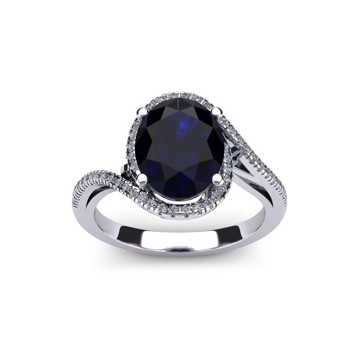1.25 Carat Oval Shape Sapphire & Halo Diamond Ring in 14K White G