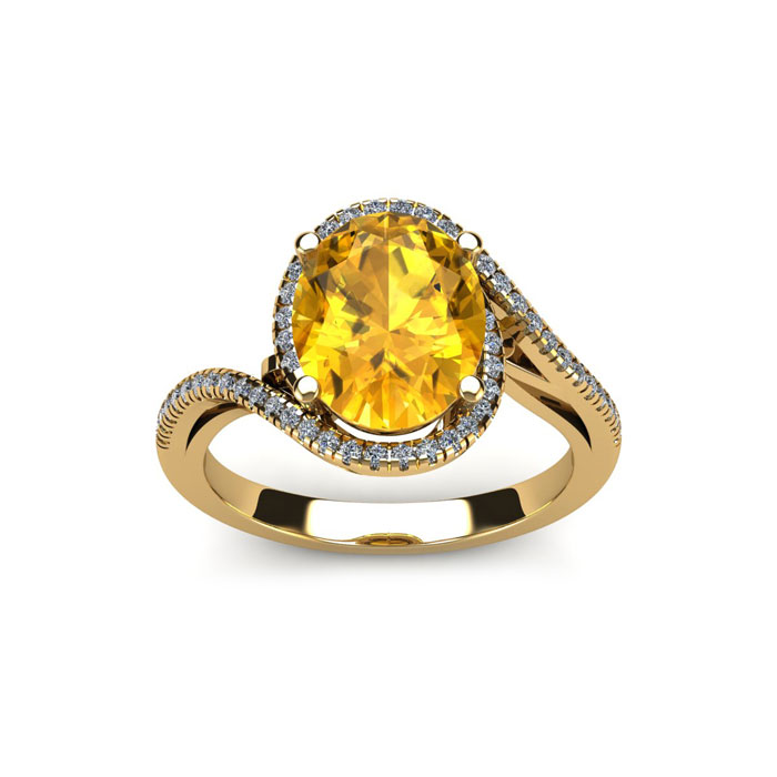 1 1/3 Carat Oval Shape Citrine & Halo Diamond Ring in 14K Yellow