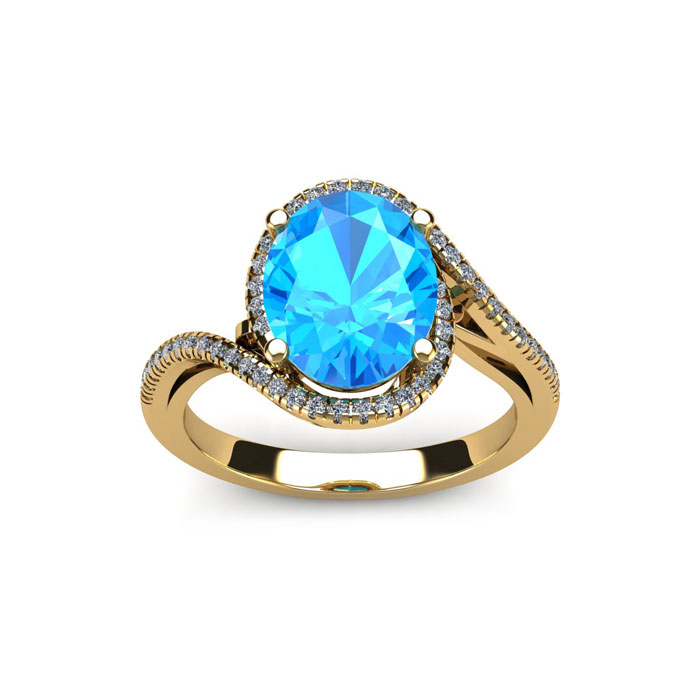 1 3/4 Carat Oval Shape Blue Topaz & Halo Diamond Ring in 14K Yell