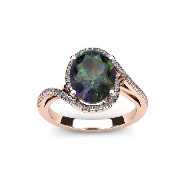 1 1/3 Carat Oval Shape Mystic Topaz & Halo Diamond Ring in 14K Ro