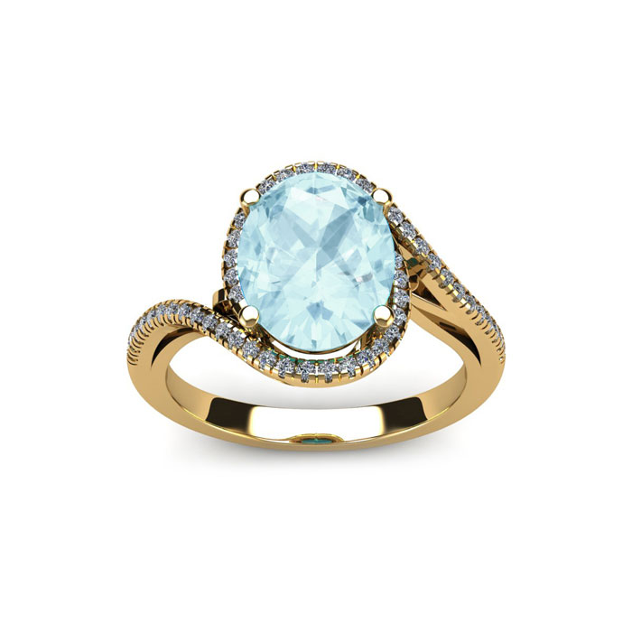 1 1/3 Carat Oval Shape Aquamarine & Halo Diamond Ring in 14K Yell