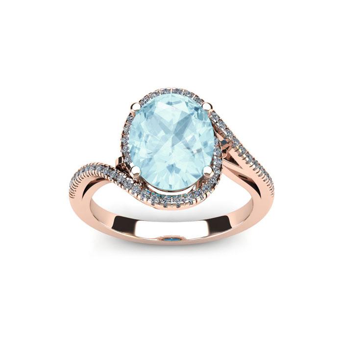 1 1/3 Carat Oval Shape Aquamarine & Halo Diamond Ring in 14K Rose
