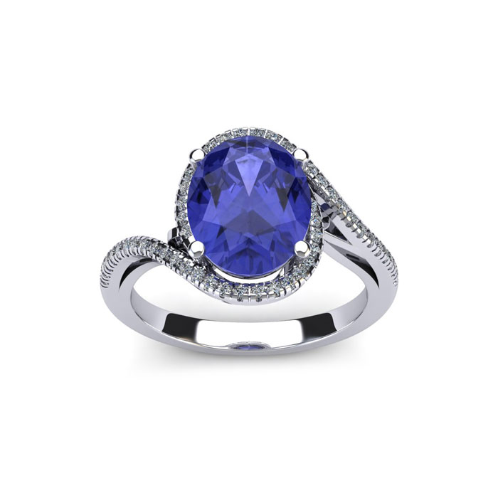 1.5 Carat Oval Shape Tanzanite & Halo Diamond Ring in 14K White G