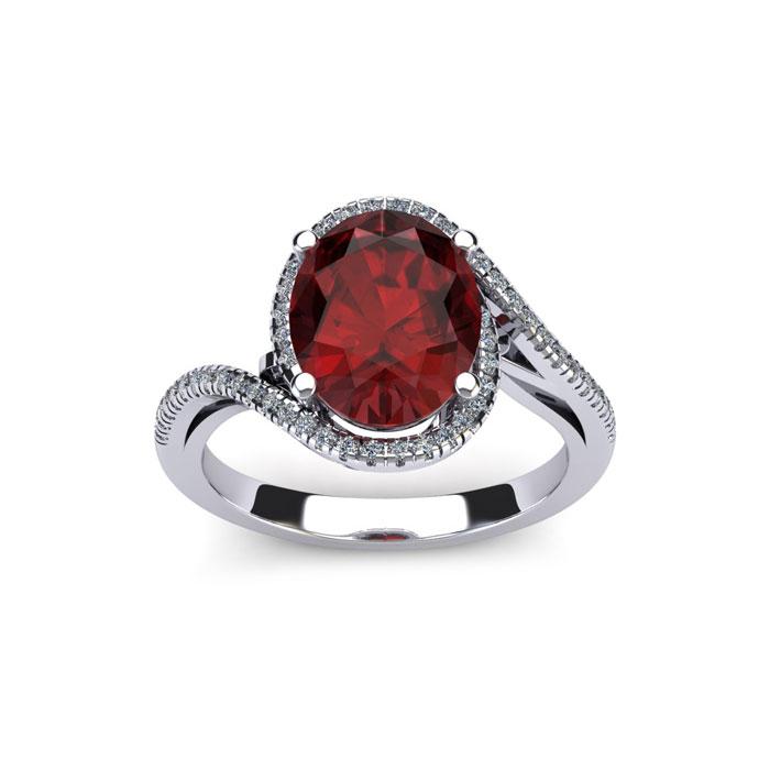 1 3/4 Carat Oval Shape Garnet & Halo Diamond Ring in 14K White Gold (4.4 g), H/I by SuperJeweler