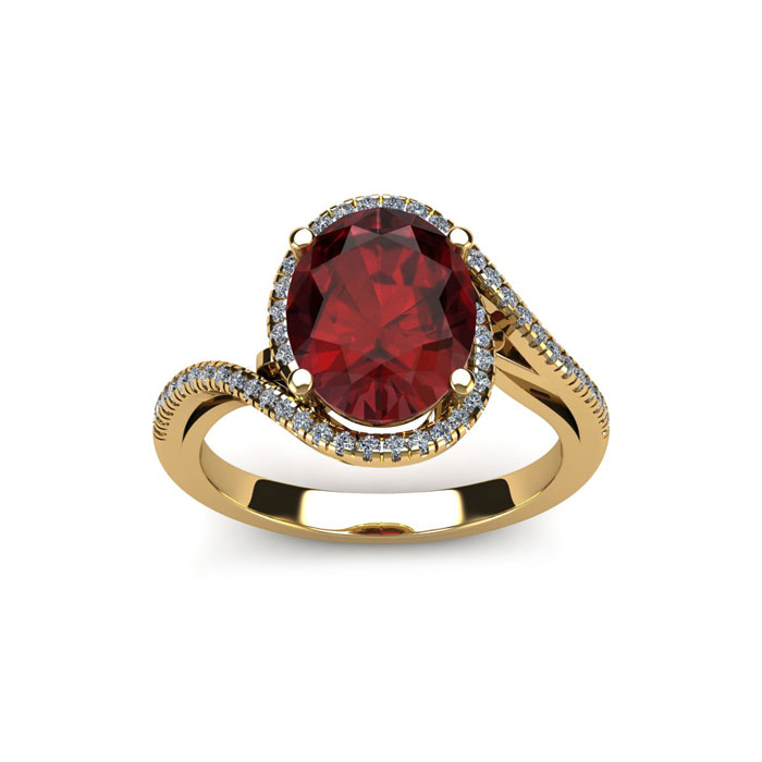 1 3/4 Carat Oval Shape Garnet & Halo Diamond Ring in 14K Yellow G