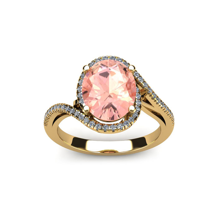 1 1/3 Carat Oval Shape Morganite & Halo Diamond Ring in 14K Yello