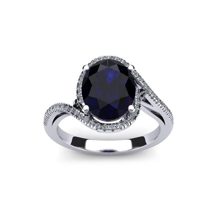 1 3/4 Carat Oval Shape Sapphire & Halo Diamond Ring in 14K White