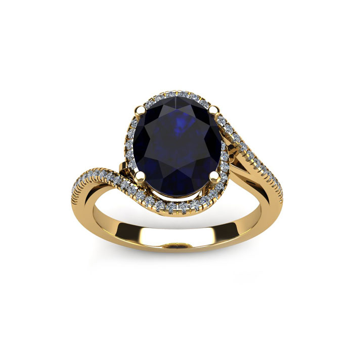 1 3/4 Carat Oval Shape Sapphire & Halo Diamond Ring in 14K Yellow