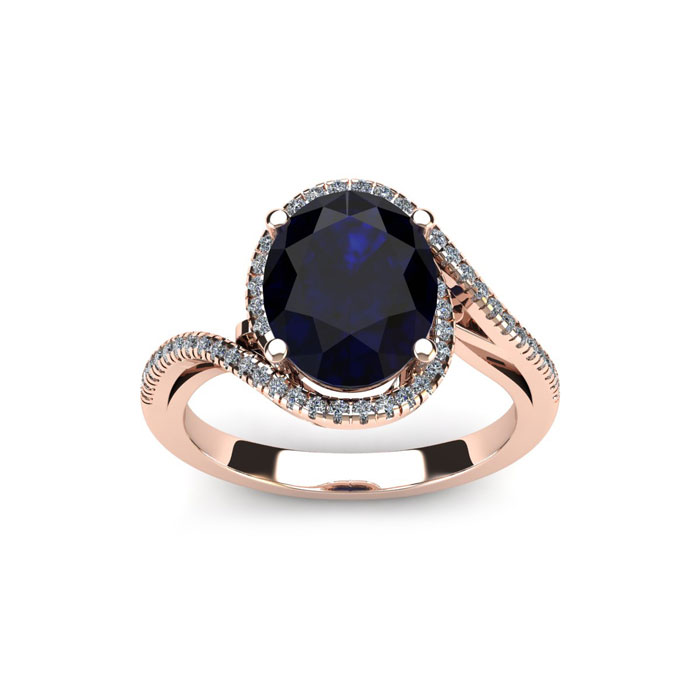 1 3/4 Carat Oval Shape Sapphire & Halo Diamond Ring in 14K Rose Gold (4.4 g), H/I by SuperJeweler