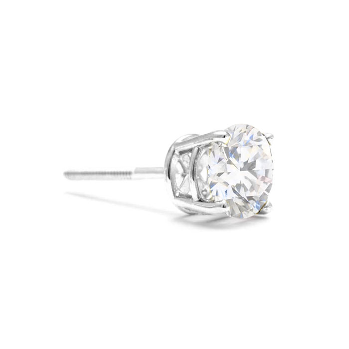 Colorless 1/6 Carat Diamond SINGLE Stud Earring, D-E-F Diamonds