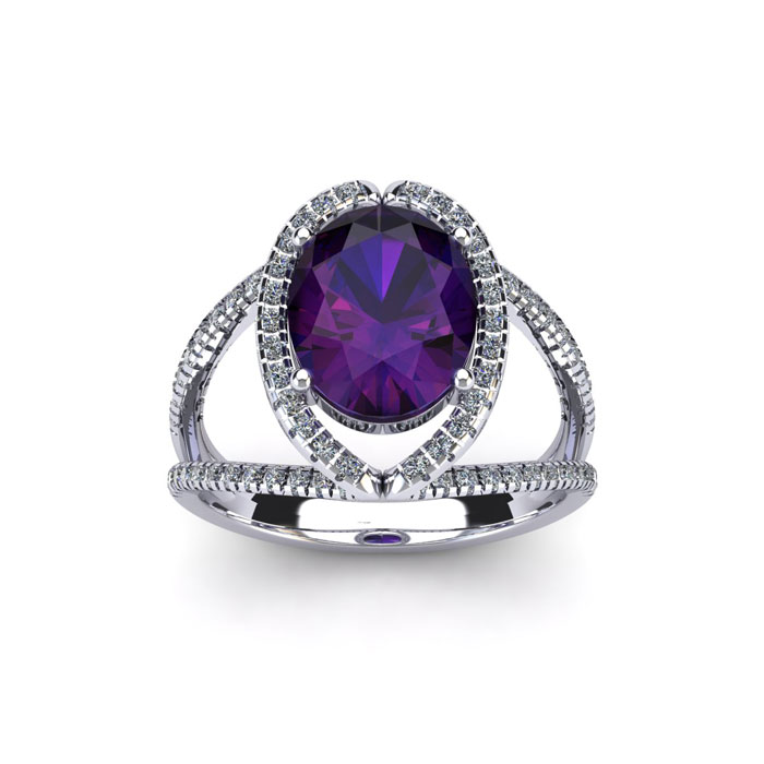 1.5 Carat Oval Shape Amethyst & Halo Diamond Ring in 14K White Go