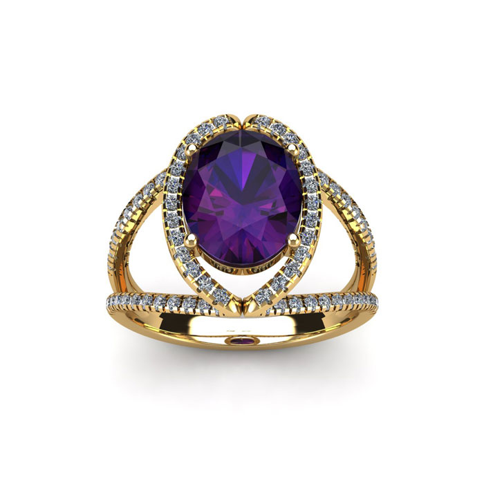 1.5 Carat Oval Shape Amethyst & Halo Diamond Ring in 14K Yellow G