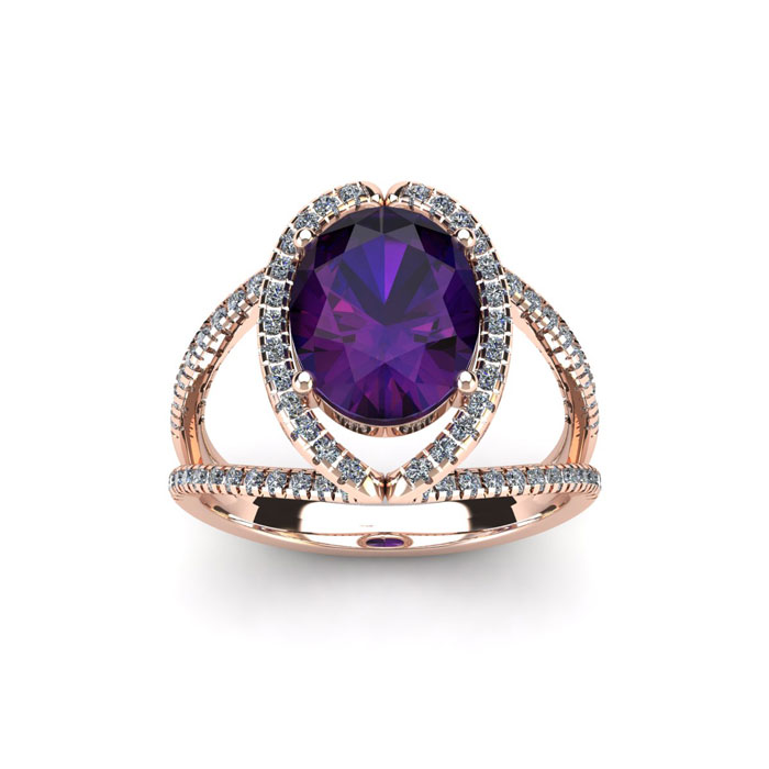 1.5 Carat Oval Shape Amethyst & Halo Diamond Ring in 14K Rose Gol