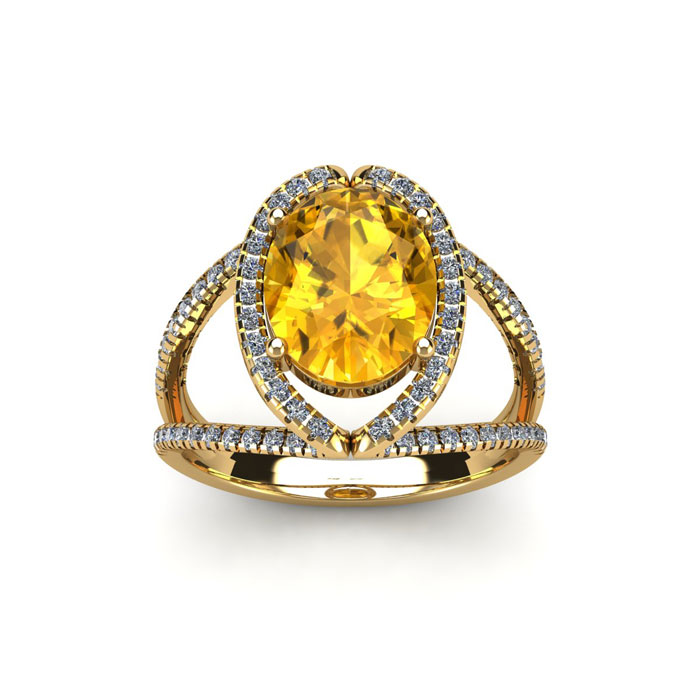 1.5 Carat Oval Shape Citrine & Halo Diamond Ring in 14K Yellow Gold (3.5 g), H/I by SuperJeweler