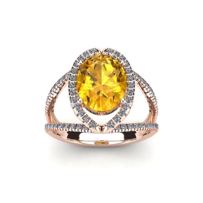 1.5 Carat Oval Shape Citrine & Halo Diamond Ring in 14K Rose Gold (3.5 g), H/I by SuperJeweler