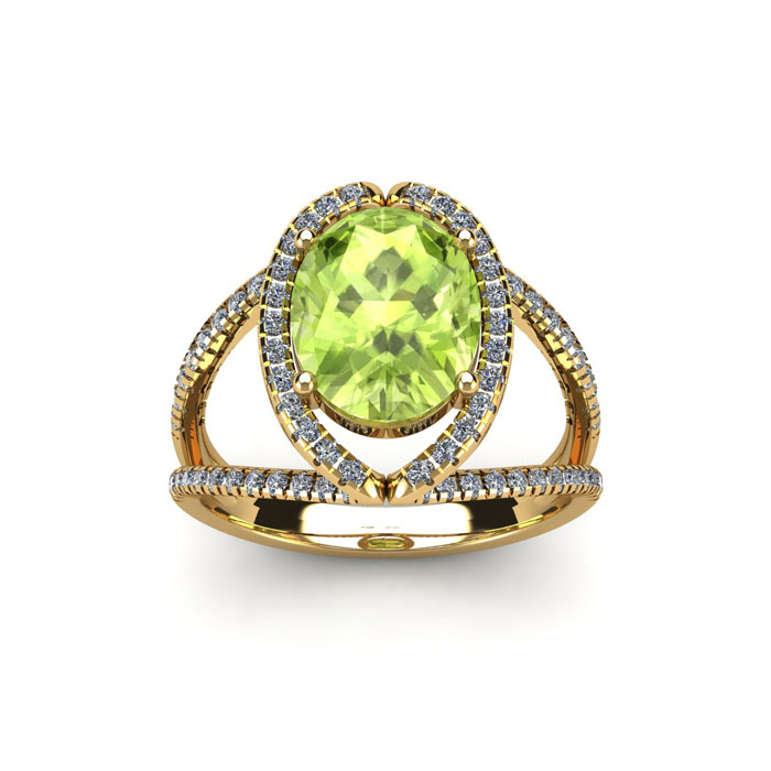 1 3/4 Carat Oval Shape Peridot & Halo Diamond Ring in 14K Yellow