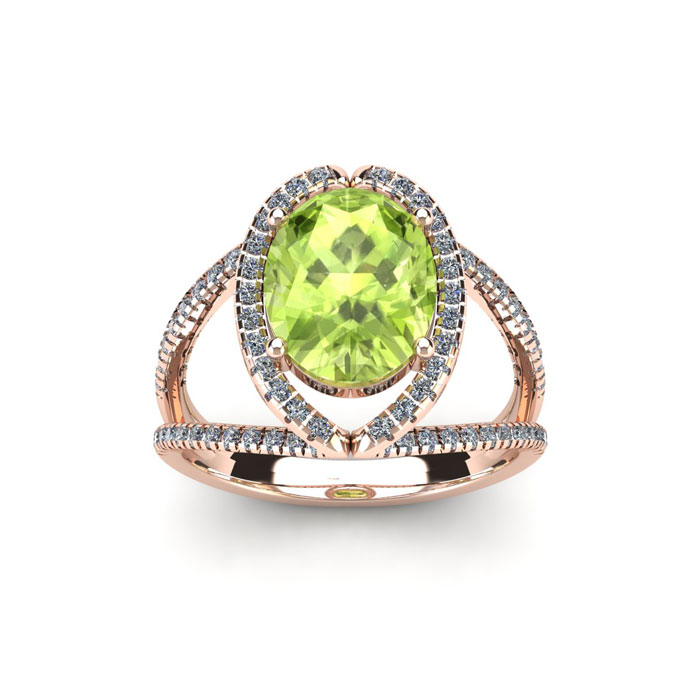 1 3/4 Carat Oval Shape Peridot and Halo Diamond Ring In 14 Karat Rose Gold