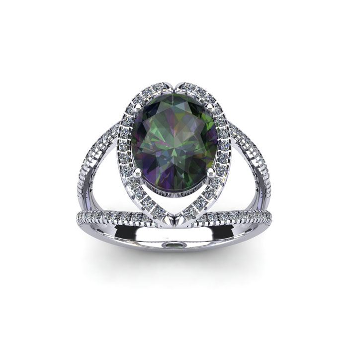1.5 Carat Oval Shape Mystic Topaz & Halo Diamond Ring in 14K Whit