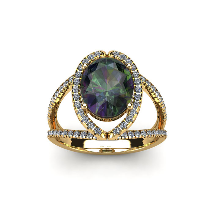 1.5 Carat Oval Shape Mystic Topaz & Halo Diamond Ring in 14K Yell