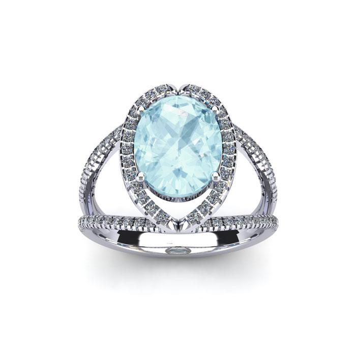 1.5 Carat Oval Shape Aquamarine & Halo Diamond Ring in 14K White