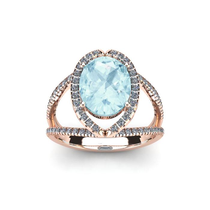 1.5 Carat Oval Shape Aquamarine & Halo Diamond Ring in 14K Rose G